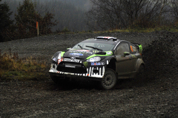 Ken Block (USA) Ford Fiesta RS WRC on stage 10.