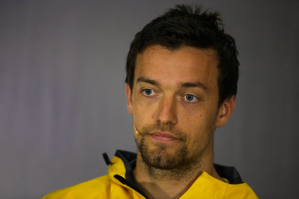 Silverstone, Northamptonshire, UK.  Thursday 13 July 2017. Jolyon Palmer, Renault Sport F1, in the Thursday press conference. World Copyright: Charles Coates/LAT Images  ref: Digital Image DJ5R0718
