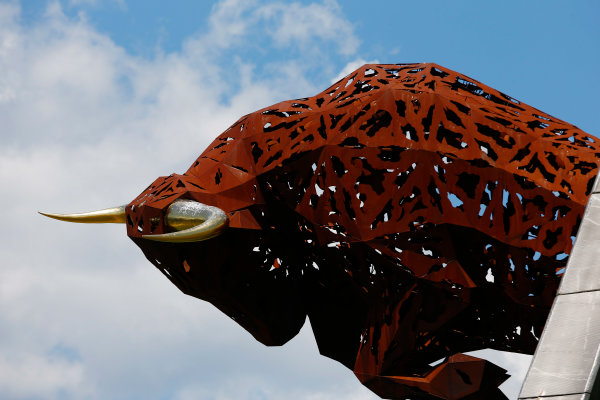 Red Bull Ring, Spielberg, Austria. Thursday 06 July 2017. A sculpture of a bull at the Red Bull Ring. World Copyright: Andy Hone/LAT Images ref: Digital Image _ONY9496