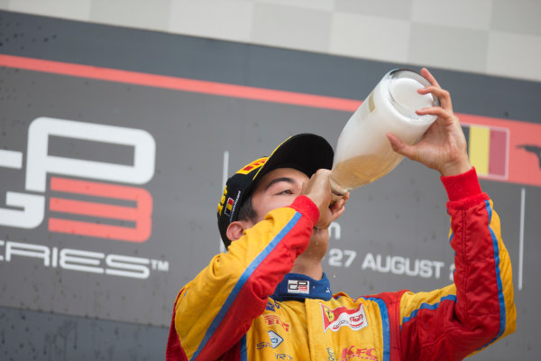 2017 GP3 Series Round 5.  Spa-Francorchamps, Spa, Belgium. Sunday 27 August 2017. Giuliano Alesi (FRA, Trident) celebrates his victory.  Photo: Alastair Staley/GP3 Series Media Service. ref: Digital Image _X0W3099