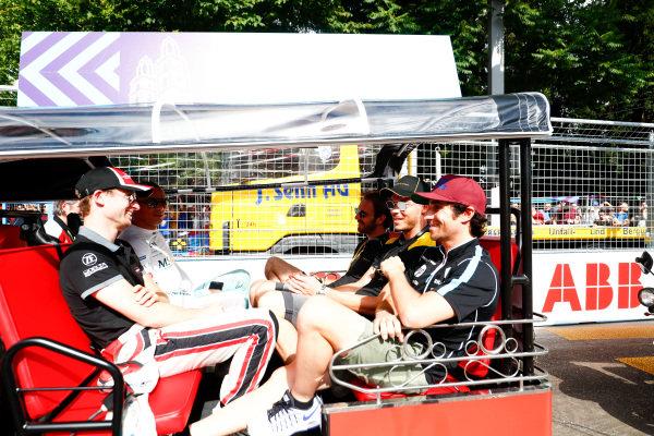 Stephane Sarrazin (FRA), MS + AD Andretti Formula E, Andretti ATEC-03, Maro Engel (GER), Venturi Formula E, Venturi VM200-FE-03, Nicolas Prost (FRA), Renault e.Dams, Renault Z.E 17, Andre Lotterer (BEL), TECHEETAH, Renault Z.E. 17, and Jean-Eric Vergne (FRA), TECHEETAH, Renault Z.E. 17, on the drivers parade.