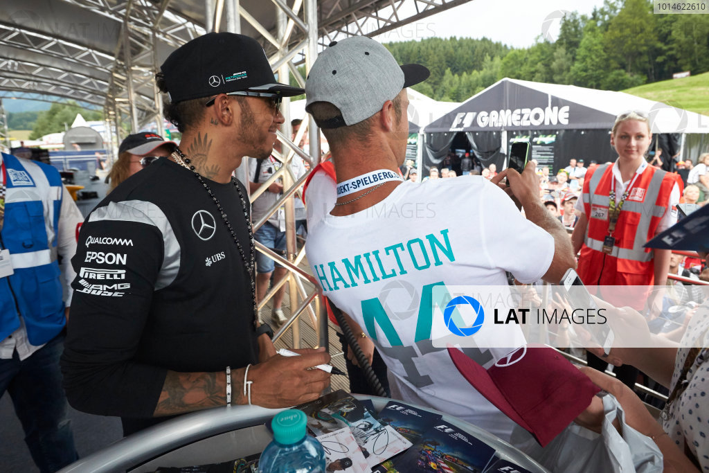 Red Bull Ring, Spielberg, Austria. Saturday 2 July 2016. Lewis Hamilton, Mercedes AMG, meets some fans. World Copyright: Steve Etherington/LAT Photographic ref: Digital Image SNE26676