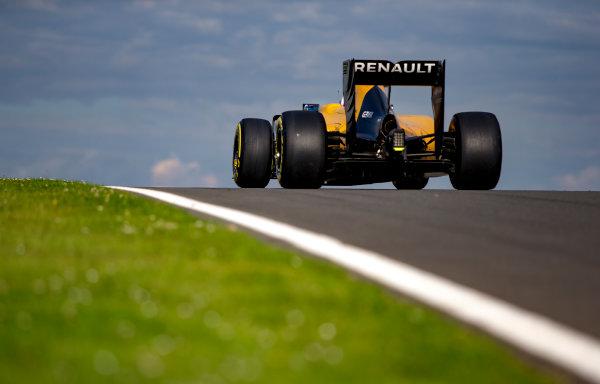 Silverstone, Northamptonshire, UK. Wednesday 13 July 2016. Jolyon Palmer, Renault RE16. World Copyright: Zak Mauger/LAT Photographic ref: Digital Image _L0U8697