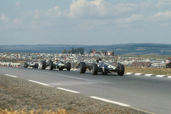 Watkins Glen, New York, USA. 30/9-1/10 1967.  Dan Gurney (Eagle T1G Weslake) leads Denny Hulme and Jack Brabham (both Brabham BT24 Repco).  Ref: 67USA02. World Copyright: LAT Photographic