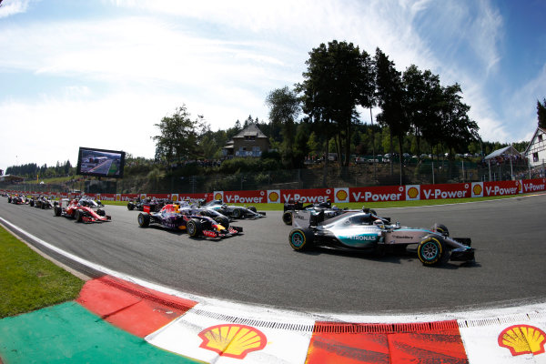 Spa-Francorchamps, Spa, Belgium. Sunday 23 August 2015. Lewis Hamilton, Mercedes F1 W06 Hybrid leads Daniel Ricciardo, Red Bull Racing RB11 Renault at the start of the race. World Copyright: Steven Tee/LAT Photographic. ref: Digital Image _L4R1913