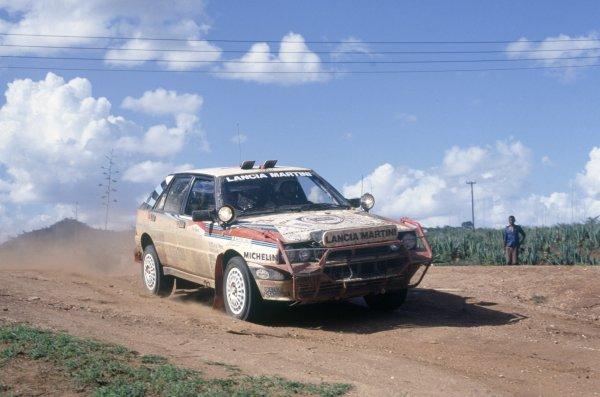 1988 World Rally Championship.Safari Rally, Kenya. 31 March-4 April 1988.Miki Biasion/Tiziano Severo (Lancia Delta Integrale), 1st position.World Copyright: LAT PhotographicRef: 35mm transparency 88RALLY04