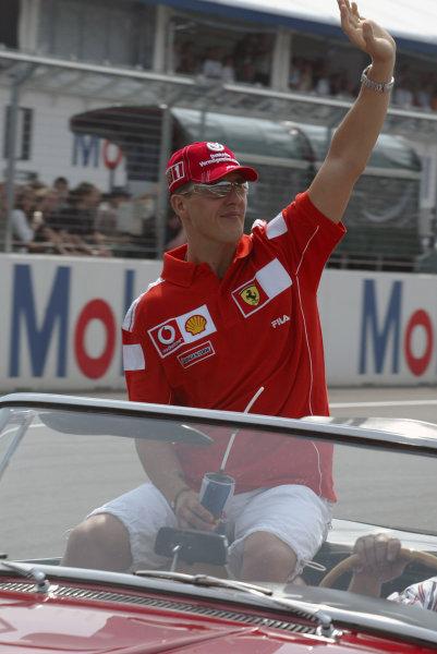 2004 German Grand Prix - Sunday Race,Hockenheim, Germany. 25th July 2004 Michael Schumacher, Ferrari F2004, porttrait. Drivers parade.World Copyright: Steve Etherington/LAT Photographic ref: Digital Image Only