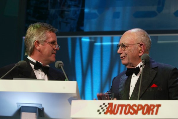 2003 AUTOSPORT AWARDS, The Grosvenor, London. 7th December 2003.Old favourite, Tom Wheatcroft chats with compere, Steve Rider.Photo: Peter Spinney/LAT PhotographicRef: Digital Image only