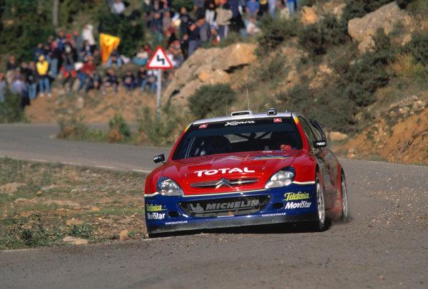 2003 World Rally Championship, Catalunya, Spain, Rd13. 23 - 26 October 2003.Citroen Xsara WRC Action.World Copyright: McKlein/LAT PhotographicRef: Transparency 03_WRC_Rd13_08