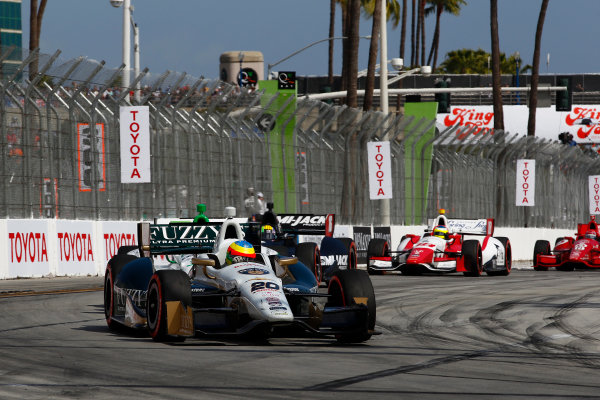 11-13 April, 2014, Long Beach, California USA Mike Conway leads Carlos Munoz, Oriol Servia and Carlos Huerta ©2014, Phillip Abbott LAT Photo USA