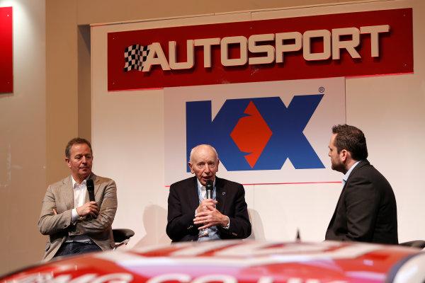 Autosport International Show NEC, Birmingham.  Sunday 12 January 2014. John Surtees and Martin Brundle on the stage. World Copyright:Sam Bloxham/LAT Photographic ref: Digital Image _SBL2711
