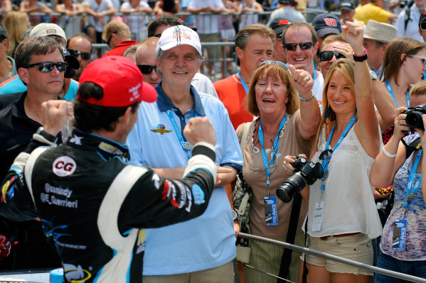 24-25 May, 2012, Indianapolis, Indiana, USAIndy Lights winner Esteban Guerrieri (#11) in Victory Lane waves to his mother and girlfriend.(c)2012, F. Peirce WilliamsLAT Photo USA