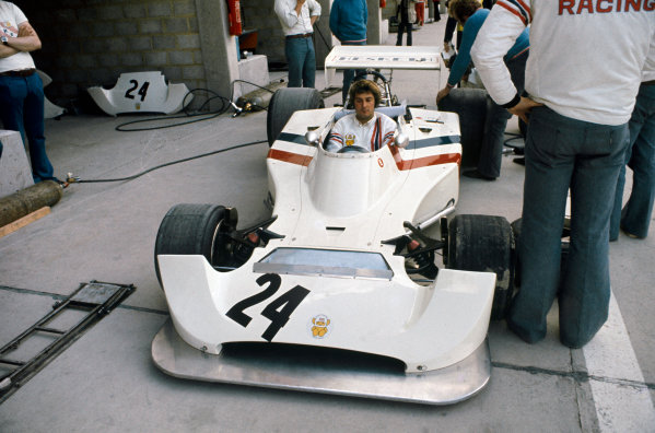 1974 Belgian Grand Prix  Nivelles-Baulers, Belgium. 10-12th May 1974.  James Hunt's Hesketh 308 Ford in the pits.  Ref: 74BEL11. World Copyright: LAT Photographic