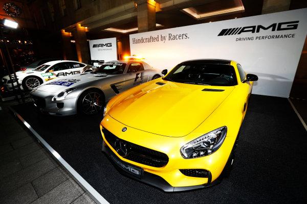 2014 Autosport Awards. Grosvenor House Hotel, Park Lane, London. Sunday 7 December 2014. Mercedes-Benz stand. World Copyright: Sam Bloxham/LAT Photographic. ref: Digital Image _14P3508