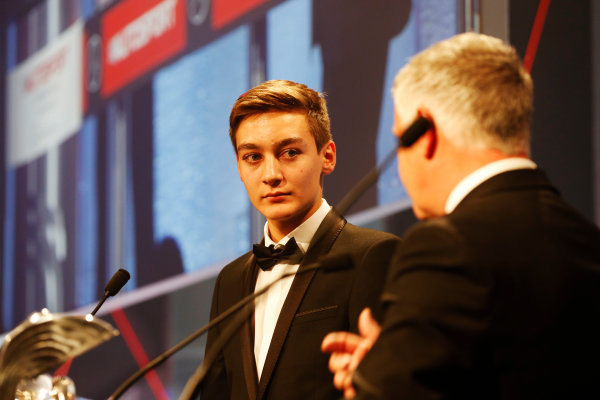 2014 Autosport Awards. Grosvenor House Hotel, Park Lane, London. Sunday 7 December 2014. George Russell wins the 2014 McLaren AUTOSPORT BRDC Award. World Copyright: Alastair Staley/LAT Photographic. ref: Digital Image _R6T9827
