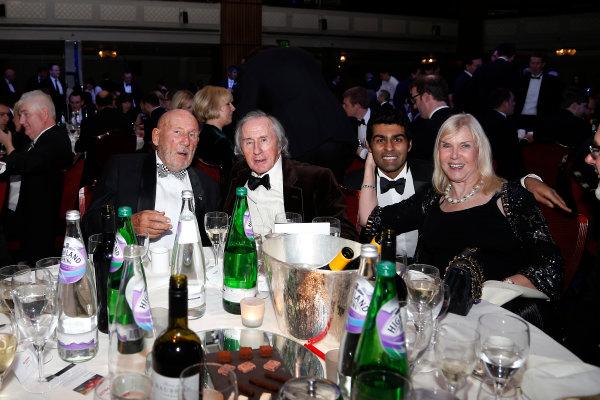 2015 Autosport Awards. Grosvenor House Hotel, Park Lane, London. Sunday 6 December 2015. Sir Stirling Moss, Sir Jackie Stewart and Karun Chandhok. World Copyright: Adam Warner/LAT Photographic. ref: Digital Image _L5R9142