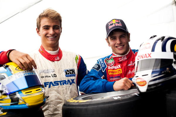 Round 5. Nurburgring, Germany. 21st July 2011.Thursday Preview. Nico Muller, (SUI, Jenzer Motorsport) and Lewis Williamson, (GBR, MW Arden), winners of races 7 and 8 at round 4 in Silverstone. Portrait. Photo: Drew Gibson/GP3 Media Service.  ref: Digital Image DG5D5658