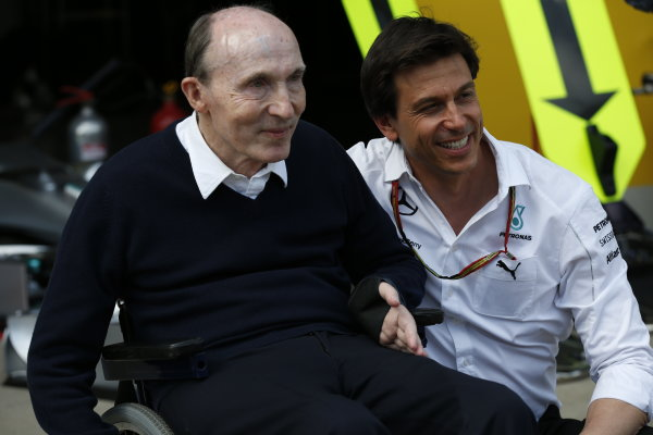 Red Bull Ring, Spielberg, Austria. Sunday 22 June 2014. Sir Frank Williams, Team Principal, Williams F1, celebrates a podium finish with Toto Wolff, Executive Director (Business), Mercedes AMG. World Copyright: Alastair Staley/LAT Photographic. ref: Digital Image _79P7638