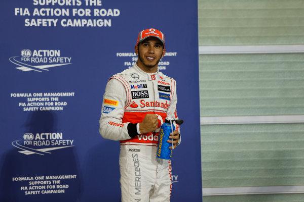 Yas Marina Circuit, Abu Dhabi, United Arab Emirates Saturday 3rd November 2012. Pole sitter Lewis Hamilton, McLaren.  World Copyright:Andrew Ferraro/  ref: Digital Image _79P2882