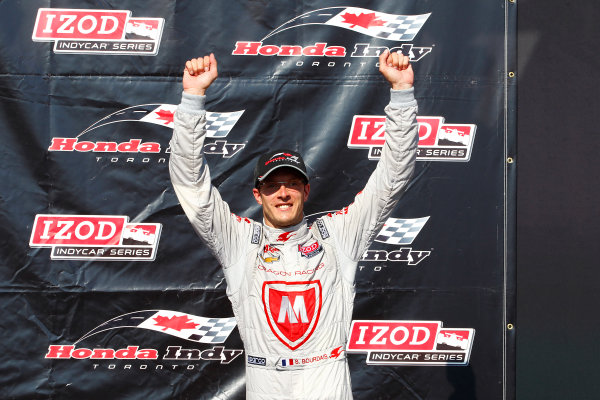 14 July, 2013,  Toronto, Ontario, CAN Sebastien Bourdais celebrates on the podium ©2013, Phillip Abbott LAT Photo USA