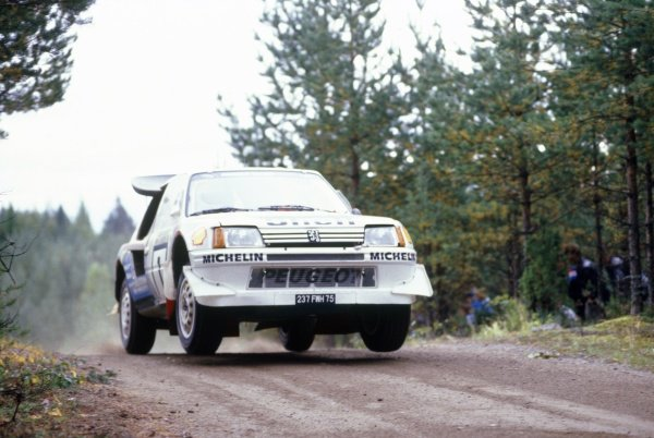 1986 World Rally Championship.1000 Lakes Rally, Finland. 5-7 September 1986.Timo Salonen/Seppo Harjanne (Peugeot 205 T16 E2), 1st position.World Copyright: LAT PhotographicRef: 35mm transparency 86RALLY07