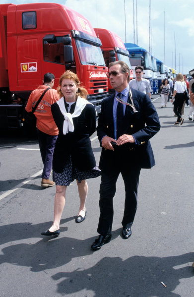 1997 British Grand PrixSilverstone, England. 11th - 13th July 1997Sarah Ferguson and Paddy McNally walk down the paddock.World Copyright: LAT Photographic