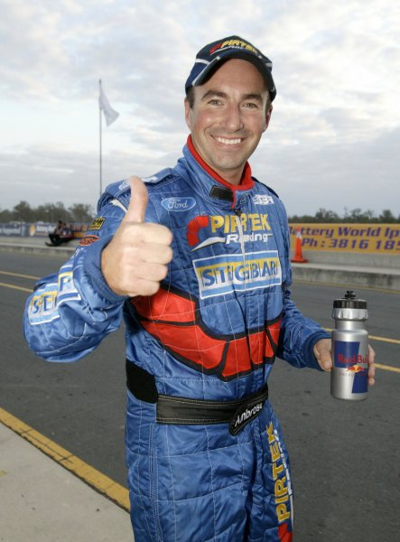 2004 Australian V8 Supercarsrd 6, Queensland Raceway, Brisbane. 4th July.Winner Marcos Ambrose gives a thumbs-up in the pits.World Copyright: Mark Horsburgh/LAT Photographicref: Digital Image Only