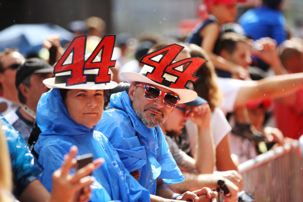 Red Bull Ring, Spielberg, Austria. Thursday 6 July 2017. fans of Lewis Hamilton, Mercedes F1 W08 EQ Power+, wear novelty hats. World Copyright: Charles Coates/LAT Images ref: Digital Image DJ5R9607