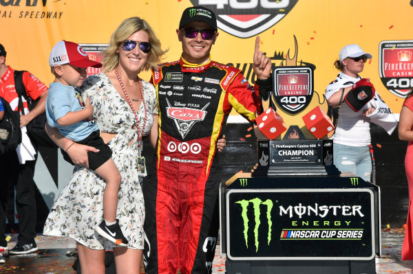 Monster Energy NASCAR Cup Series FireKeepers Casino 400 Michigan International Speedway, Brooklyn, MI USA Sunday 18 June 2017 Kyle Larson, Chip Ganassi Racing, Cars 3 Target Chevrolet SS celebrates his win in Victory Lane World Copyright: Nigel Kinrade LAT Images