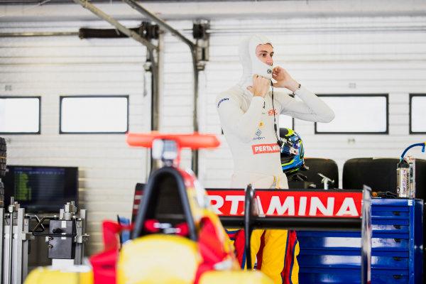2017 GP3 Series Test 4.  Hungaroring, Budapest, Hungary. Tuesday 6 June 2017. Ryan Tveter (USA, Trident)  Photo: Zak Mauger/GP3 Series Media Service. ref: Digital Image _54I2169