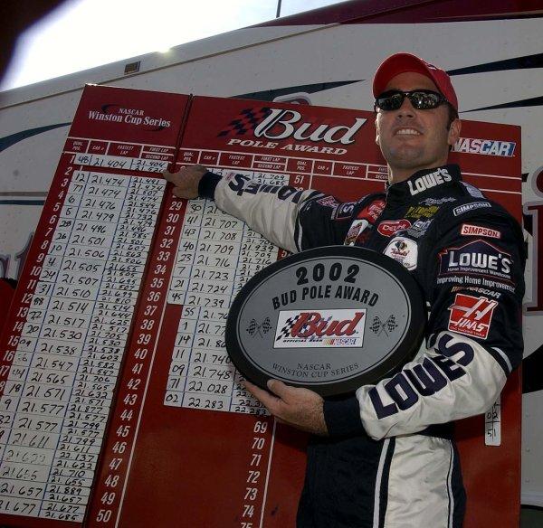 2002 NASCAR,Richmond Intl. Raceway,Sept 06-07, 20022002 NASCAR, Richmond,Va . USA -Jimmie Johnson pointing to pole winning time,Copyright-Robt LeSieur2002LAT Photographic