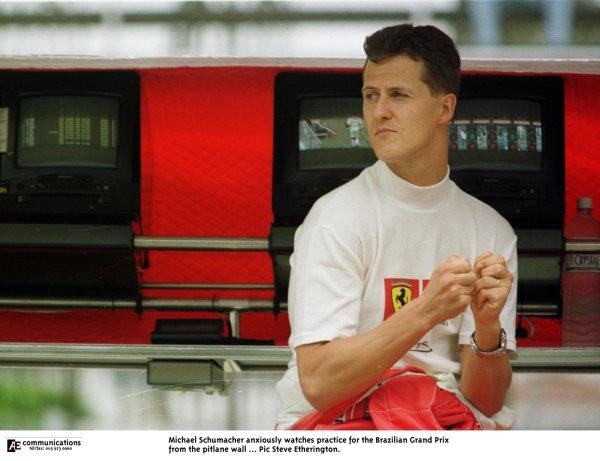 1998 Brazilian Grand Prix.Interlagos, Sao Paulo, Brazil.27-29 March 1998.Michael Schumacher (Ferrari).World Copyright - Steve Etherington/LAT Photographic