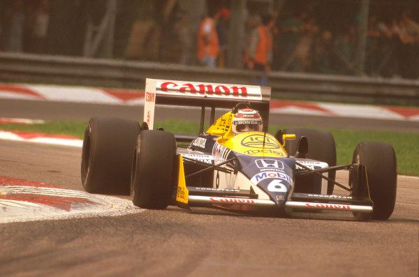 Monza, Italy.4-6 September 1987.Nelson Piquet (Williams FW11B Honda) 1st position.Ref-87 ITA 14.World Copyright - LAT Photographic