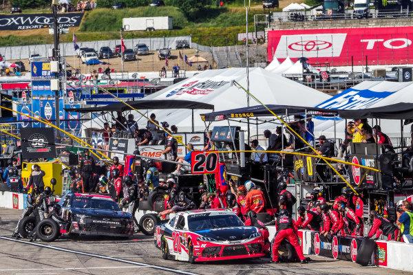 #20: Christopher Bell, Joe Gibbs Racing, Toyota Supra Rheem-Watts pit stop