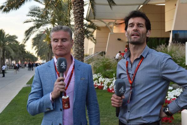 David Coulthard (GBR) Channel Four TV Commentator and Mark Webber (AUS) at Formula One World Championship, Rd2, Bahrain Grand Prix Race, Bahrain International Circuit, Sakhir, Bahrain, Sunday 3 April 2016.