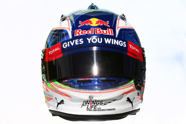 The helmet of Daniel Ricciardo (AUS) Red Bull Racing at Formula One World Championship, Rd1, Australian Grand Prix, Practice, Albert Park, Melbourne, Australia, Friday 18 March 2016.