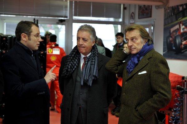 (L-R): Stefano Domenicali (ITA) Ferrari Sporting Director talks with Piero Ferrari (ITA) and Luca di Montezemolo (ITA) Ferrari President.Ferrari F2008 First Run, Fiorano, Italy, 7 January 2008.
