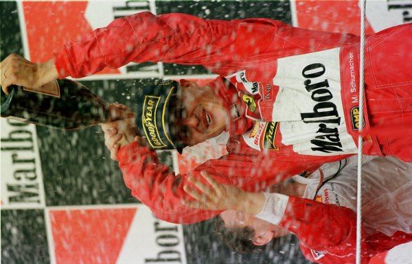 1998 Hungarian Grand Prix.Hungaroring, Budapest, Hungary.14-16 August 1998.Michael Schumacher (Ferrari) 1st position.World Copyright - Steve Etherington/LAT Photographic