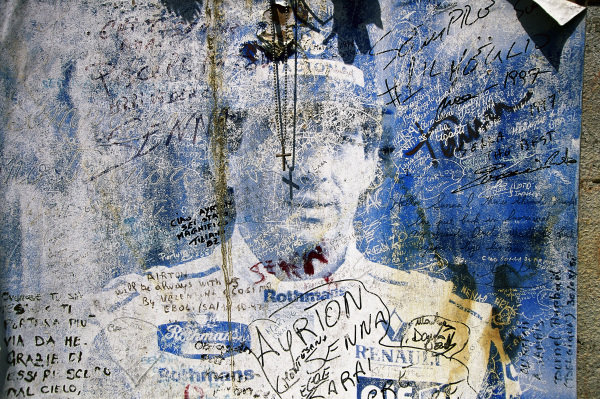 A tribute to Ayrton Senna left by fans.