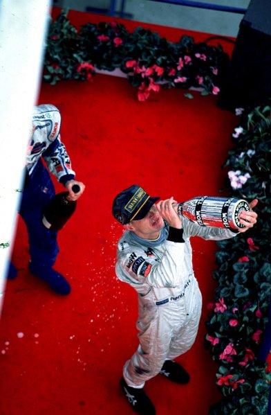 1997 Belgian Grand Prix.Spa-Francorchamps, Belgium.22-24 August 1997.Mika Hakkinen (McLaren Mercedes-Benz) 3rd position.World Copyright - LAT Photographic