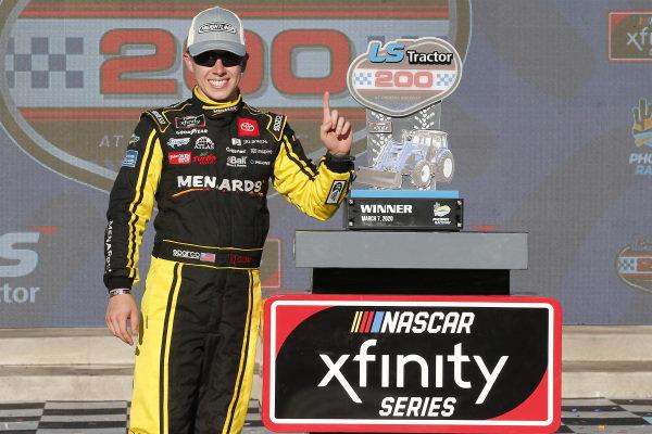 #19: Brandon Jones, Joe Gibbs Racing, Toyota Supra Menards/Turtle Wax celebrates in victory lane