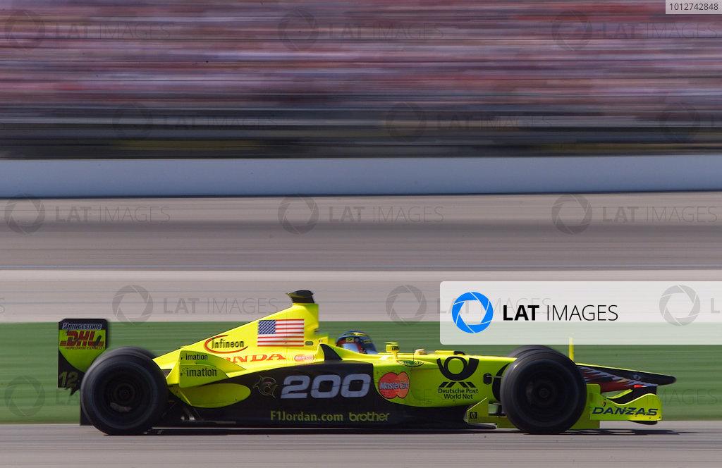 2001 American Grand Prix - RaceIndianapolis, United States. 30th September 2001.Jean Alesi, Jordan Honda EJ11, makes it 200 Grand Prix starts.World Copyright: Steve Etherington/LAT Photographicref: 18mb Digital Image