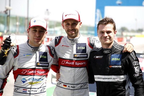 Top 3 after Qualifying, Pole sitter René Rast, Audi Sport Team Rosberg, Robin Frijns, Audi Sport Team Abt Sportsline, Jonathan Aberdein, Audi Sport Team WRT