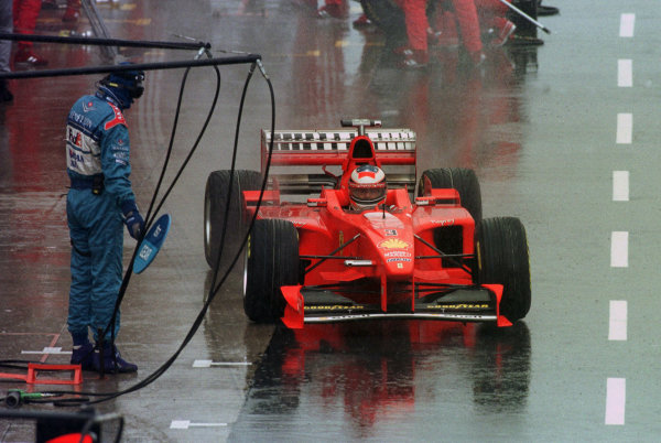 Silverstone, England. 10-12 July 1998.Michael Schumacher (Ferrari F300) 1st position.World Copyright - Steve Etherington/LAT Photographic