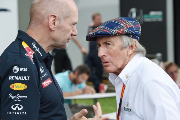 Sir Jackie Stewart (GBR) with Adrian Newey (GBR) Red Bull Chief technical officer at Formula One World Championship, Rd1, Australian Grand Prix, Qualifying, Albert Park, Melbourne, Australia, Saturday 14 March 2015.