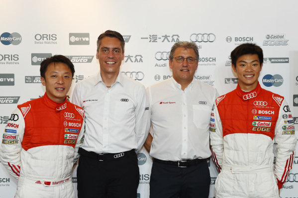 Alex Yoong (MAL) Audi TEDA Racing Team, Cheng Congfu (Franky) (CHN) FAW-VW Audi Racing and Rene Koneberg (D) Director of Audi Sport customer racing Asia, Ernst Moser (D) Team Principal Team Phoenix Racing, Marchy Lee (CHN) Audi Hong Kong Team and Wei Fung Thong (Shaun) (HKG) Michelin Racing Team at Audi R8 LMS Cup, Zhuhai, China, 21  March 2015.