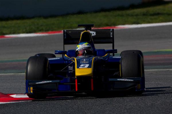 Circuit de Barcelona Catalunya, Barcelona, Spain. Tuesday 14 March 2017. Oliver Rowland (GBR, DAMS). Action.  Photo: Alastair Staley/FIA Formula 2 ref: Digital Image 585A8409