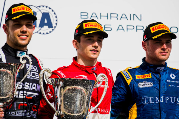 2017 FIA Formula 2 Round 1. Bahrain International Circuit, Sakhir, Bahrain.  Sunday 16 April 2017. Luca Ghiotto (ITA, RUSSIAN TIME),Charles Leclerc (MCO, PREMA Racing), Oliver Rowland (GBR, DAMS)  Photo: Zak Mauger/FIA Formula 2. ref: Digital Image _56I2191