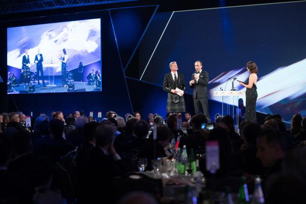 2017 Autosport Awards Grosvenor House Hotel, Park Lane, London. Sunday 3 December 2017. Robert Kubica on stage with Presenters David Coulthard, and Lee McKenzie. World Copyright: Zak Mauger/LAT Images  ref: Digital Image _O3I7096