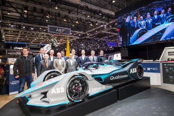 2017/2018 FIA Formula E Championship. Geneva Motor Show Tuesday 6 March 2018. The FIA Formula-E Gen2 car is unveiled. Photo: Sam Bloxham/LAT/Formula E ref: Digital Image _W6I3829